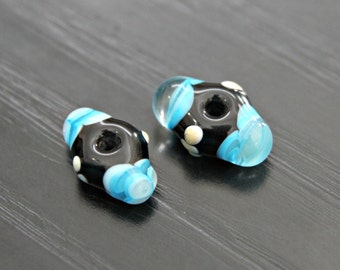 Pair of Handmade Artisan Lampwork Glass Beads in Blue and Black With Unique Shape Beading Supplies Artisan Pyrex Beads