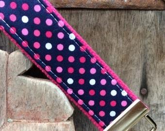 READY TO SHIP-Beautiful Key Fob/Keychain/Wristlet-Dots on Hot Pink