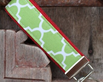 Key Fob Keychain Wristlet-Green Lattice on Red