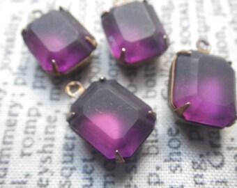Frosted Amethyst Purple Swarovski Crystal 12x10mm Octagon Brass Ox Glass Drops 4 Pcs