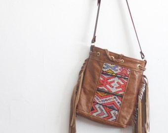 Fringe Purse. Leather Fringe Bag. Leather Boho Bag. Kilim Bag. Brown Leather Bucket Bag.