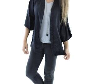 Boho Kimono Black Floral Silk Swim Cover Up / Cardigan / Sheer Evening Jacket // Made in USA