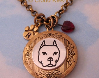 Pitbull  Necklace Locket | Pitbull Mom Jewelry Pit Bull Pendant | Pit Bull Memorial Gifts | Pittie Keepsake American Staffordshire | AmStaff