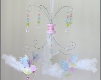 Petite Pink Blue and Green Bird Mobile Nursery Mobile