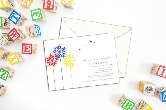 Floating Dandelion Shower and Party Invitation, Dandelion Invitations, Wedding Invitations, Custom Invitations, Event Invitations