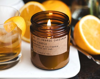 No. 27: ORANGE CARDAMOM - 7.2 oz soy wax candle - pomander clove / spiced chai tea latte / tonka & vanilla bean - P.F. Candle Co.