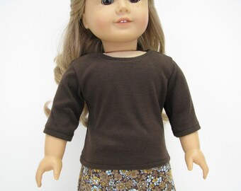 "18 Inch Doll Clothes - AG Doll Clothes - 18 Inch Doll Top - Brown  Top - 18"" Doll Clothes - American Made Top"