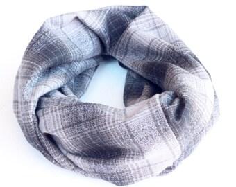 Infinity Scarf - Plaid - Flannel - Oversized - Grey + Black - Warm - Winter- Cozy - Unisex - Gray