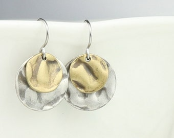 Hammered Antique Silver and Antique Gold Dangle Earrings, Hammered Antique Silver Earrings, Small Drop Earrings