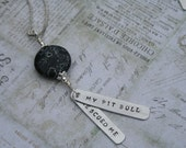 My pit bull rescued me pendant hand-stamped aluminum necklace with stone rescue jewelry
