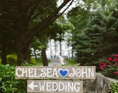 Wood Wedding Signs Reception Sign Ceremony Sign Outdoor Weddings Hand Painted Reclaimed Wood. Rustic Weddings. Vintage Weddings Road Signs