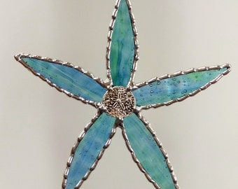Stained Glass Starfish Suncatcher Ornament