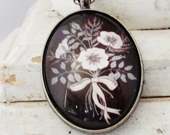 Cameo Floral Art - Oval Pendant  - Victorian Style - Bohemian Jewelry - Boho Style - Birthday Gift for Her - White Flowers - Long Necklace
