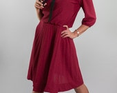 RESERVED Vintage Burgundy Wine Sailor Collar Dress (Size Medium/Large)