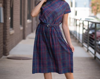 Vintage Navy Blue Plaid Belted Day Dress (Size Large)