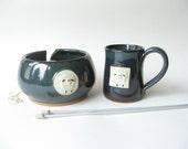 Yarn Bowl and Coffee Mug with Sheep Motif