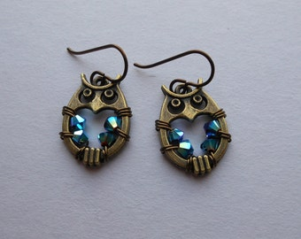 Brass Owl Earrings -- Rainbow Swarovski Crystal Wire Wrapped Beads, Antique Brass Owls, Niobium Ear Wires, Round Owl Earrings, Stylized Owls