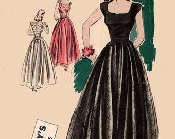 1940s Scoop Neckline Evening Dress w/ Camisole Top Bias Underskirt Vogue 5003 Vintage 40s Sewing Pattern Size 12 Bust 30