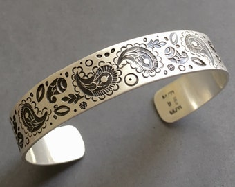 Paisley Stamped Cuff Bracelet in Sterling Silver, hand stamped, hand made stamps