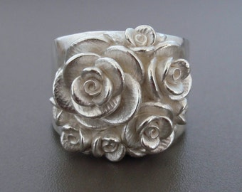 Size 6, Bouquet of Roses | SMALL SIZE | Handsculpted, Cast Sterling Silver Wide-Band Ring