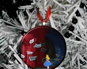 Disney Alice in Wonderland Christmas Tree Pendant Ornament - Alice Signs