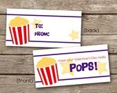 INSTANT DOWNLOAD - Valentines Day Treat Bag Topper - Popcorn - Printable