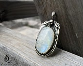 Moon Raven // Myth and Legends  // Rainbow Moonstone and Skull Gemstone Sterling silver, welded by Bellalili