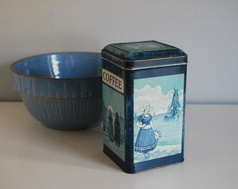 Blue Coffee Tin, 1920s Kitchen Storage Container, Delft Blue Dutch Girl, Itens Quality Product, Vintage Metal Canister, Rustic Dutch Box