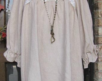 Ladies 3/4 sleeve Bone 100% Linen Hi Lo Peasant Top
