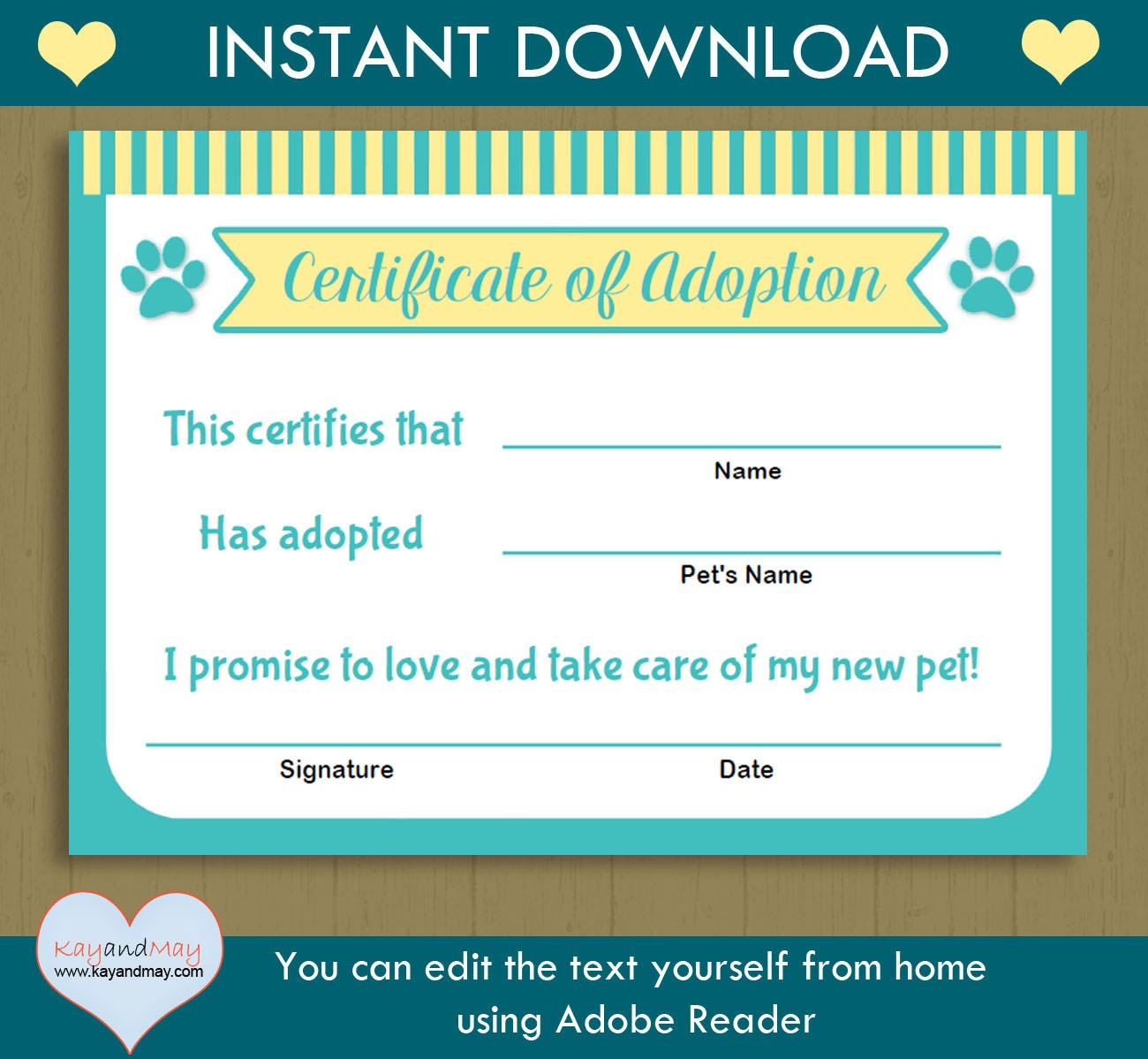 pet adoption certificate instant download printable pet. Black Bedroom Furniture Sets. Home Design Ideas