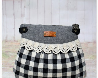 Plaid  And Lace - crossbody bag