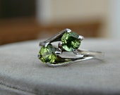70% OFF Going Out of Business Sale.. Last One..Double Peridot Sterling Silver Ring - Size 6.5