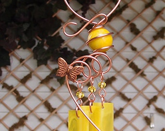 Butterfly Windchime Glass Wind Chimes Copper Garden Ornament Art Sculpture Stained Glass Metal Yellow