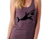 SHARK sharks Ladies Heathered Tank Top Shirt screenprint Alternative Apparel