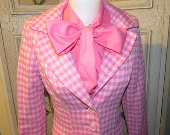 Vintage 1960s Lipman's Signature Shop Pink and White Dress Coat Set size 8