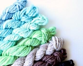 handspun yarn set, weaving creative yarn bundle, hand spun, hand dyed yarn, handspun art yarn .. trail blazer