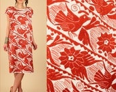 AMAZING ViNtAgE Otomi Mexican Huipil Caftan Dress Hand Embroidered BIRDS Floral RARE Cotton Artisan Handmade Free Size s / m / l / xl