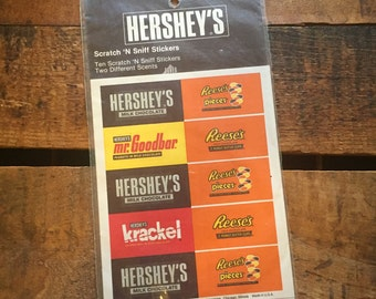 Hershey's Chocolate Scratch and Sniff Stickers by Boxed-In NIP Vintage 80's Candy Bar