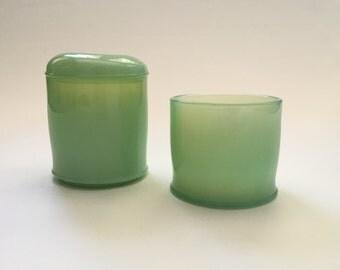 Vintage Jadeite Glass Jar Set of 2 with Lid for One