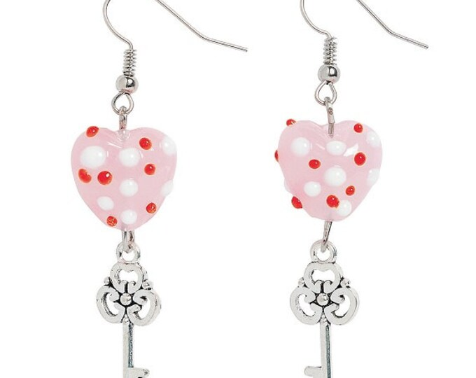Heart & Key Earrings