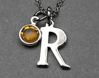 Initial necklace, Birthstone initial necklace, initial birthstone, birthstone jewelry, personalized initial, bridesmaid gift, monogram