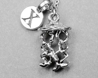 Jellyfish necklace, jellyfish charm, jelly fish necklace, personalized initial, initial charm, initial jewelry, sea life jewelry, monogram