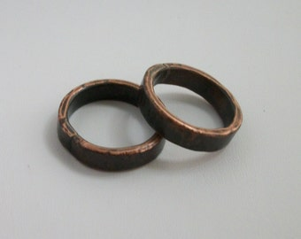 Hammered copper ring band, hand forged - copper jewelry - rustic ring - available size- 7.5