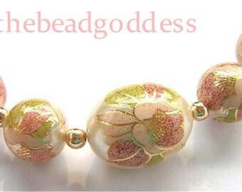 New Graduated Tensha Beads Pink Blossom Pearl 10, 12 & 16x20mm
