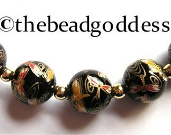 5 Beautiful Japanese TENSHA Beads Dragonflies on Black 12mm