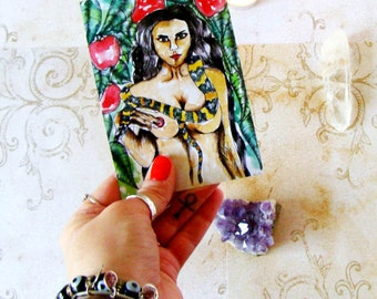 Fantasy Art Prayer Card Altar Art Goddess Print Pagan Art Goddess Art Lilith Dark Goddess Spiritual Art Pagan Ritual Altar Mythological Art