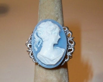 Cameo Ring, Blue & White Cameo Ring with Silver Crochet Wire Band, Assorted Rings with Vintage Jewelry, Buttons, Beads, Crystals, Stones