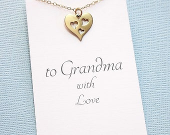 Heart Necklace for Grandma | Mother's Day Gift | Gifts for Grandma | Heart Necklace | Grandma Necklace | Silver or Gold | M14