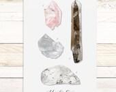 Minerals & Gems Vol3 - Quartz Collection / Watercolor botanical wall hanging, wood trim art. Scientific Canvas Posters Chart More Options