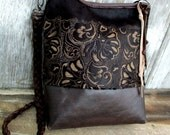 Laser Cut Hair On Cowhide Cross Body Bucket Bag by Stacy Leigh RESERVED for Erin